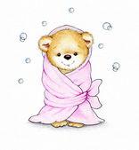 Teddy-Bär in Rosa Decke gewickelt