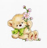 Teddybär mit Blumen