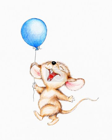 Happy mouse with balloon...