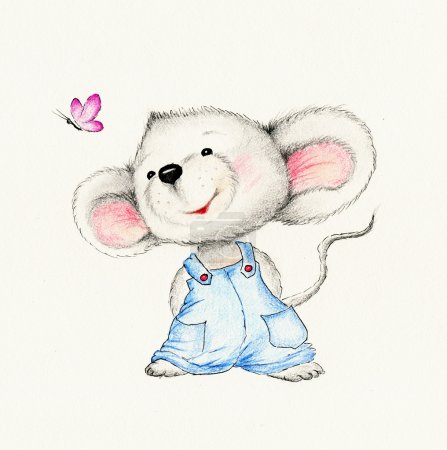 Cute mouse on white background...