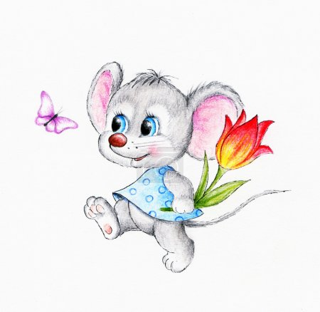 Funny mouse with flower...