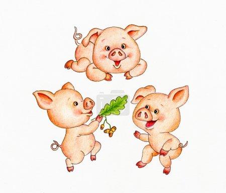 Photo pour Trois petits cochons - image libre de droit