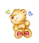 Cute Teddy bear and butterflies