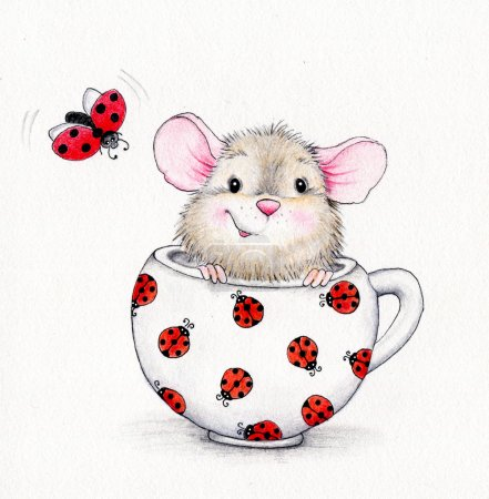 Cute mouse in the cap and ladybug...