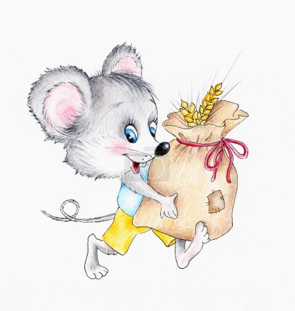 Funny mouse with pouch of spikes...
