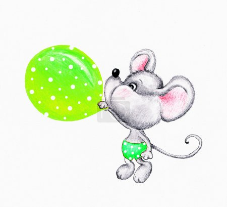 Cute mouse blowing balloon...