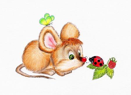 Mouse and ladybug. illustration...