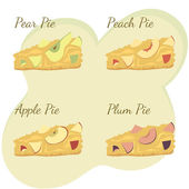 Slices of apple pear peach and plum pie