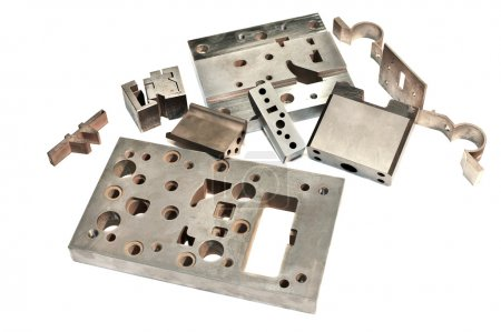Metal cnc details. Matrix and puncheon. Milling and drilling ind