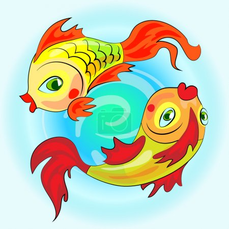 Two gold zodiac fishes