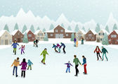 The vector illustration of people on the ice rink