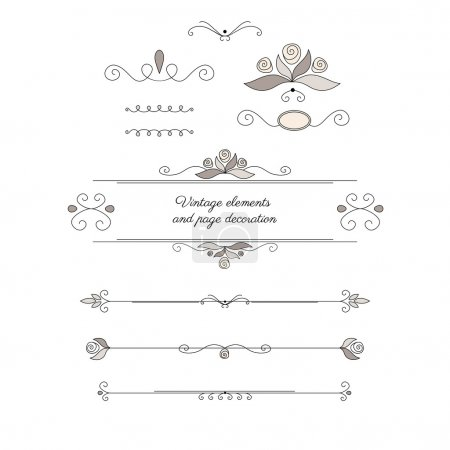 Vintage elements and page decoration. Vector set