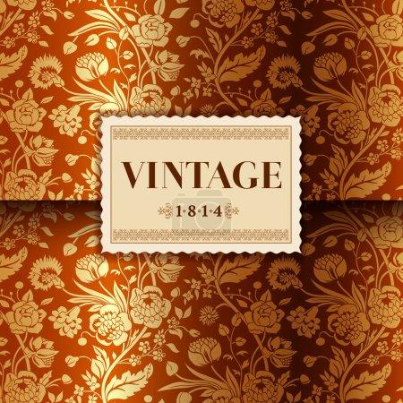 Illustration pour Carte d'or avec bouquets de fleurs vintage oeillets et chrysanthèmes - image libre de droit