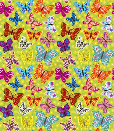 Spring bright with butterflies and flowers. pattern