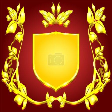 Photo pour Blason riche or monogram motif floral sur fond rouge - image libre de droit