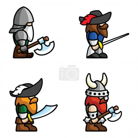 Illustration for Set of warriors. Perfect for game animations. Each character consist of head, body, two arms and two legs. Check my portfolio for more game graphics! - Royalty Free Image