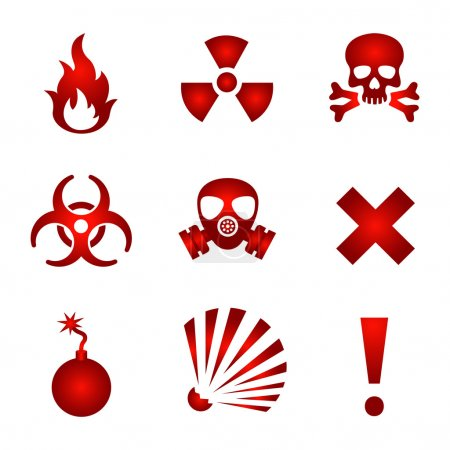 Illustration for Set of red warning icons. - Royalty Free Image