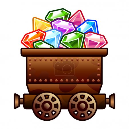 Old mine cart with diamonds