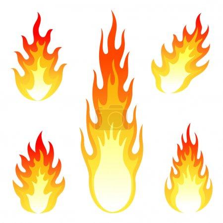 Illustration pour Ensemble d'icônes vectorielles de feu et de flamme différent . - image libre de droit