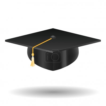 Graduation cap, isolated on white