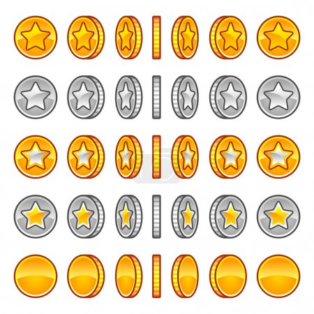Illustration pour Ensemble de rotation des pièces d'étoiles vectorielles, isolé sur blanc - image libre de droit