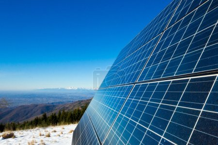 Solar cells on the top of the mountain, italy