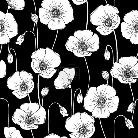 Poppies b&w vector seamless pattern.