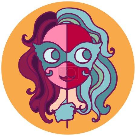 Zodiac sign cartoon vector illustration. Gemini.
