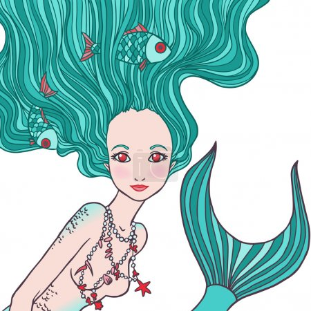 Illustration of Pisces astrological sign as a beautiful girl.