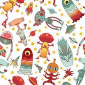 Cartoon aliens vector seamless pattern