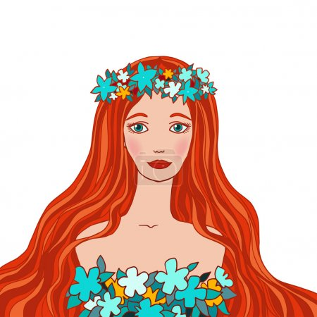 Illustration for Illustration of Virgo astrological sign as a beautiful girl. Vector. - Royalty Free Image