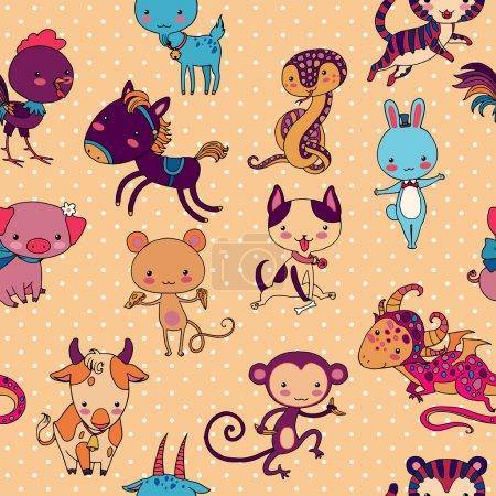Illustration pour Chinois zodiaque animaux vecteur modèle sans couture . - image libre de droit