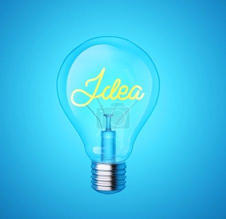 """Foto de Bombilla de luz azul con la palabra """"idea"""" sobre fondo azul. concepto creativo - Imagen libre de derechos"""