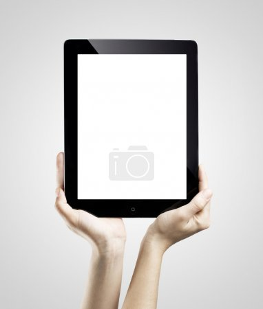 Photo for Hands holding digital tablet with copy space - Royalty Free Image