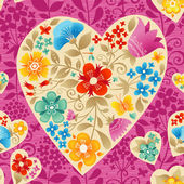 Large ocher heart with flowers on a bright pink seamless background Romantic floral wallpaper It can be used for decorating of wedding invitations greeting cards decoration for bags and clothes