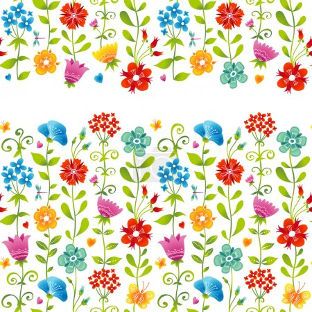 Illustration for Bright floral seamless border with butterfly, dragonfly and hearts on white background. Endless texture can be used for wallpaper, pattern fills, web page background, surface textures. - Royalty Free Image