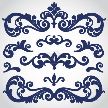 Illustration for Vector set with ornament in Victorian style. Ornate elements for design. Toolkit for designer. It can be used for decorating of wedding invitations, greeting cards, decoration for bags and clothes. - Royalty Free Image