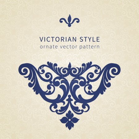 Illustration for Vector baroque ornament in Victorian style. Ornate element for design. Toolkit for designer. It can be used for decorating of wedding invitations, greeting cards, decoration for bags and clothes. - Royalty Free Image