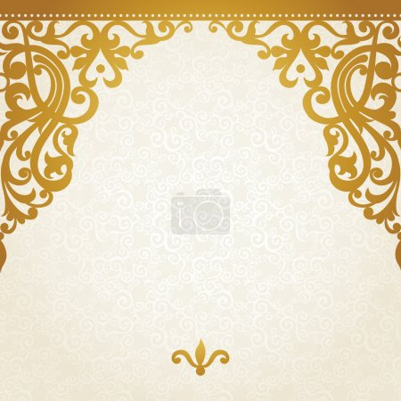 Illustration for Vector seamless border in Victorian style. Element for design. Place for your text. It can be used for decorating of wedding invitations, greeting cards, decoration for bags and clothes. - Royalty Free Image