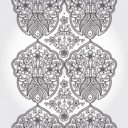 Vintage seamless border with lacy ornament