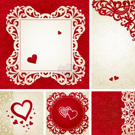 Illustration for Vintage greeting cards with swirls and floral motifs in east style. Template frame design for retro wedding card. Red vector border in Victorian style. Place for your text. Save the date. - Royalty Free Image