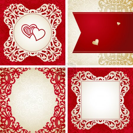 Template frame design for retro wedding card
