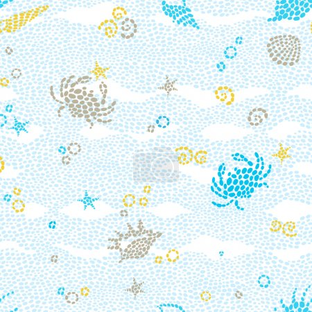 Illustration for Vector seamless pattern with sea element and seashells. Marine life background. It can be used for wallpaper, pattern fills, web page background, surface textures. - Royalty Free Image