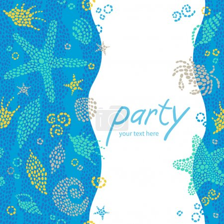 Bright invitation cards with sea elements
