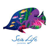 Marine life on background in the form of a fish