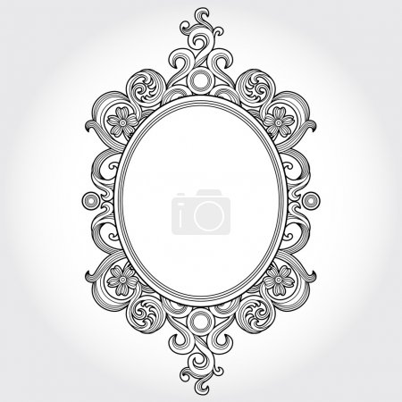 Illustration for Vintage ornate frame with place for your text. Victorian floral decor. Save the date. Template frame design for greeting card and wedding invitations, decoration for bags and clothes. - Royalty Free Image