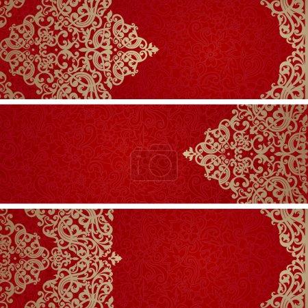 Illustration pour Cartes de vœux vintage avec tourbillons et motifs floraux dans un style oriental. Modèle de conception de cadre pour carte de mariage rétro. Bordure vectorielle dorée dans le style victorien. Place pour ton texto. Enregistrer la date . - image libre de droit