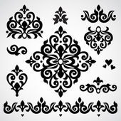 Vector set with classical ornaments in Victorian style