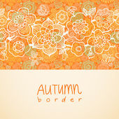 Seamless border with outline flowers