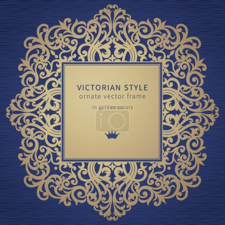 Illustration for Vector frame in Victorian style on dark blue background. Baroque ornate element and place for text. Golden ornamental pattern and traditional decor. - Royalty Free Image